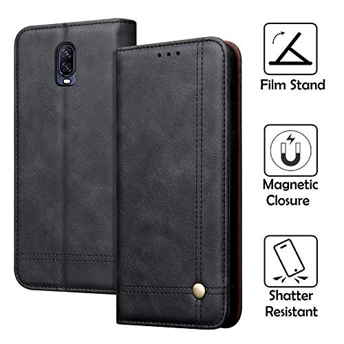 REAL-EAGLE OnePlus 6T Case, Oneplus 6T Wallet Case,OnePlus 6T Premium PU Leather Wallet Protection Case with [Kickstand] [Card Slots] [Magnetic Closure] for OnePlus 6T 2018 (Black 6T)