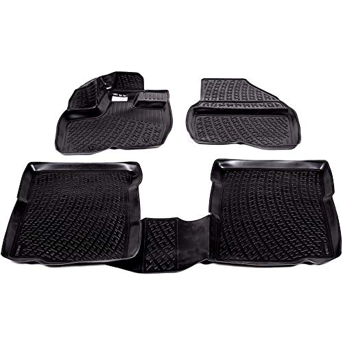 SIXTOL Alfombrillas de Goma 3D con Orificios de fijaci/ón para un Agarre aptas para Todo Tipo de Condiciones clim/áticas y Resistentes al Agua Juego de 4 Alfombrillas para Volkswagen Transporter T5