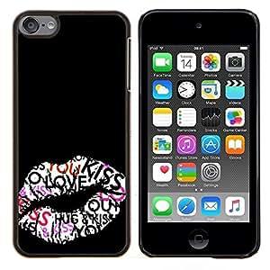 Beso Labios Hug miel Sexy Negro- Metal de aluminio y de plástico duro Caja del teléfono - Negro - iPod Touch 6