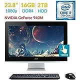 2018 Newest Premium Acer Aspire AZ3 23.8'' Touch FHD (1920x1080) All-in-One Desktop PC, 7th Gen Intel Quad Core i7-7700T 2.9Ghz, 16GB DDR4, 2TB HDD, NVIDIA GeForce 940M, DVD-RW, HDMI, Windows 10