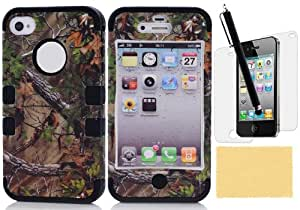 iPhone 4S Case, iPhone 4 Case, XIANA Autumnal Scenery Maple Leaf Hybrid Hard Back Case Silicone Skin Slim Fit For iPhone 4 4S(Black),Including Stylus,Screen Protector and Cleaning Cloth