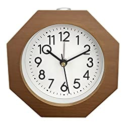 XSHION 3.85×1.63×3.86 Inch Clock Retro Style Alarm Clock Vintage Silent Nightlight Desk Clock for Bedroom(Brown Octagon Type)