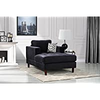 Mid Century Modern Velvet Fabric Living Room Chaise Lounge (Black)