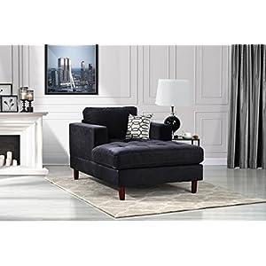 DIVANO ROMA FURNITURE Mid Century Modern Velvet Fabric Living Room Chaise Lounge