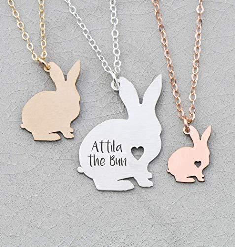 (Bunny Rabbit Necklace - IBD - Mom Friend Gift - Personalize Name Date - Pendant Size Options - 935 Sterling Silver 14K Rose Gold Filled - Fast 1 Day Production )