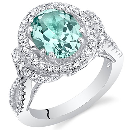 Simulated Paraiba Tourmaline Sterling Silver Oval Allure Ring