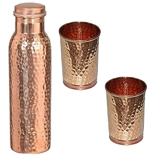 MustHaves Pure Hammered Copper Water Bottle and 2 Glass Set