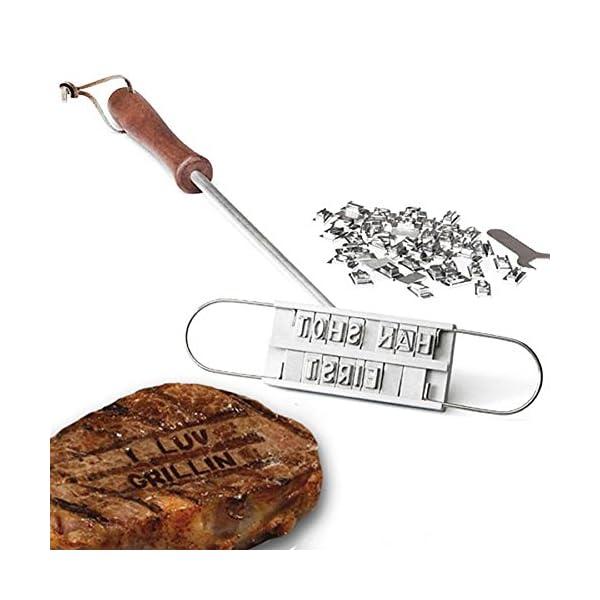 Dealglad®, ferro per marchiatura, per barbecue, set di attrezzi per barbecue con 54lettere removibili, per marchiatura fai da te di carne, bistecche, hamburger 1 spesavip