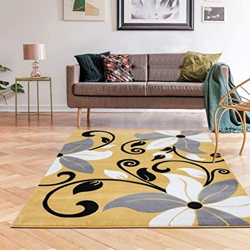 Luxe Weavers 9242 Victoria Modern Yellow Floral Area Rug 8×10
