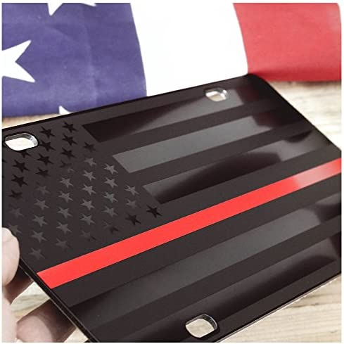 VLP612 Thin Red Line Distressed Flag License Plate Tag Vanity Novelty Metal 6-Inches by 12-Inches UV Printed Metal Car Truck RV Trailer Wall Shop Man Cave