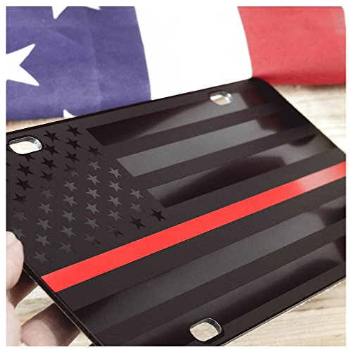 JASS GRAPHIX Firefighter Thin Red Line Subdued American Flag License Plate Matte Black on 1/8