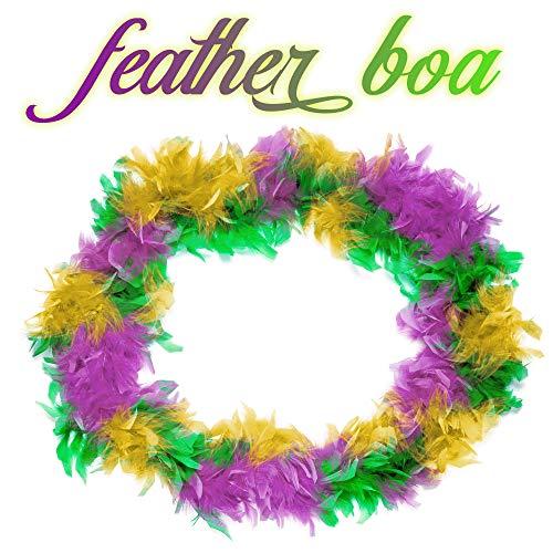 Windy City Novelties Mardi Gras Feather Boa Green, Purple and Gold