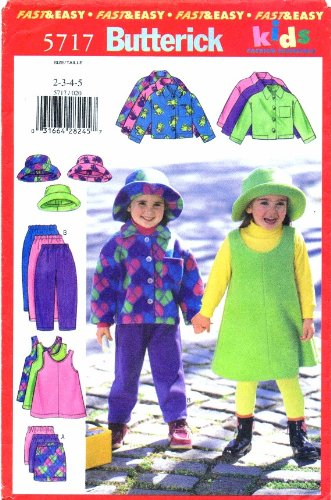 Pinwale Corduroy Shirt (Butterick Pattern 5717 Size 2, 3, 4 and 5 Childrens/Girls Jacket Jumper Shirt, Pants &)
