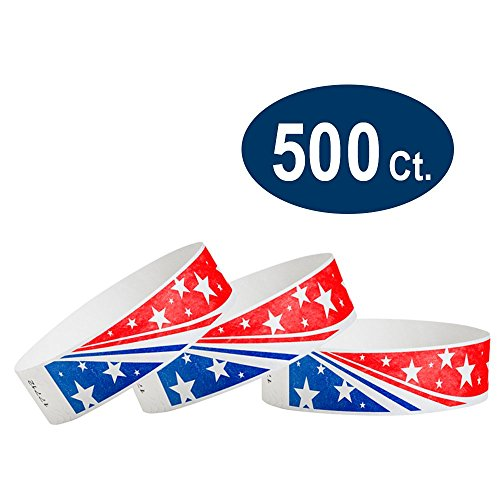WristCo Star Stream USA 3/4' Tyvek Wristbands - 500 Pack Paper Wristbands For Events