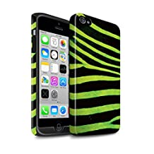 STUFF4 Gloss Tough Shock Proof Phone Case for Apple iPhone 4/4S / Green Design / Zebra Animal Skin/Print Collection