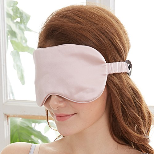 YUNS Advanced 19 Momme Mulberry Silk Sleep Mask, Both Sides Silk, Silk Covered Elastic Band, Big Size 22X10cm, Hypoallergenic, Anti-Aging, Anti-Eye Wrinkles, Light-Blocking, 1pc.(Lotus Pink)