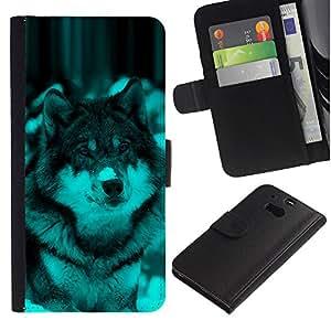 Ihec-Tech / Flip PU Cuero Cover Case para HTC One M8 - Cute Wolf Dog Winter Snow