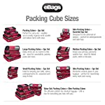 "eBags Small Classic Packing Cubes for Travel - Organizers - 3pc Set 15 INCLUDES 3 Small PACKING CUBES: Dimensions are 11"" x 6.75"" x 3""; great for packing tanks, undergarments, diapers, etc. SUPERIOR QUALITY: Highest construction standards utilized, making it a customer-favorite, packing cube of choice. Includes premium self-healing zippers with corded pulls for a lifetime of opening and closing. DURABLE & CONVENIENT: Interior seams fully finished for durability and soft mesh tops won't damage delicate fabrics or dress clothes. Mesh allows for easy identification - no more digging around!"
