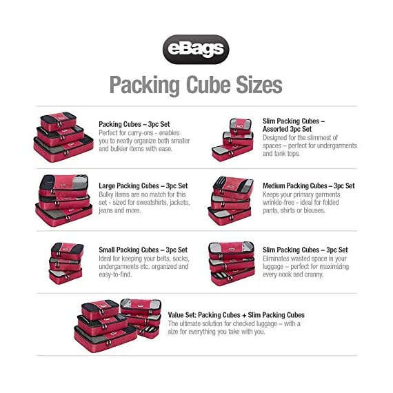 "eBags Small Classic Packing Cubes for Travel - Organizers - 3pc Set 7 INCLUDES 3 Small PACKING CUBES: Dimensions are 11"" x 6.75"" x 3""; great for packing tanks, undergarments, diapers, etc. SUPERIOR QUALITY: Highest construction standards utilized, making it a customer-favorite, packing cube of choice. Includes premium self-healing zippers with corded pulls for a lifetime of opening and closing. DURABLE & CONVENIENT: Interior seams fully finished for durability and soft mesh tops won't damage delicate fabrics or dress clothes. Mesh allows for easy identification - no more digging around!"