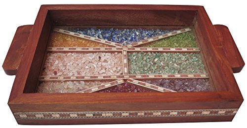 (HandicraftStore Serving Tray Made with Decorative gem Stone with The Design Parlor Lines and Triangles Design Gives The Elegant Look to Tray, Must for Home Kitchen and Dining)