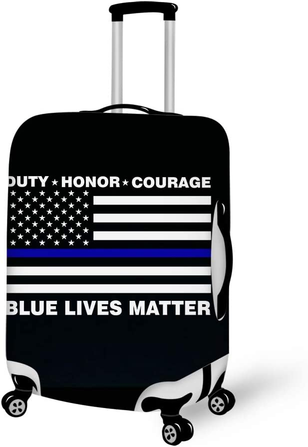 Printing Blue Lives Matter Police Blue Line Us Flag Graphicg Graphic 18-21 inch Travel Luggage Cover Spandex Suitcase Protector Washable Baggage Covers