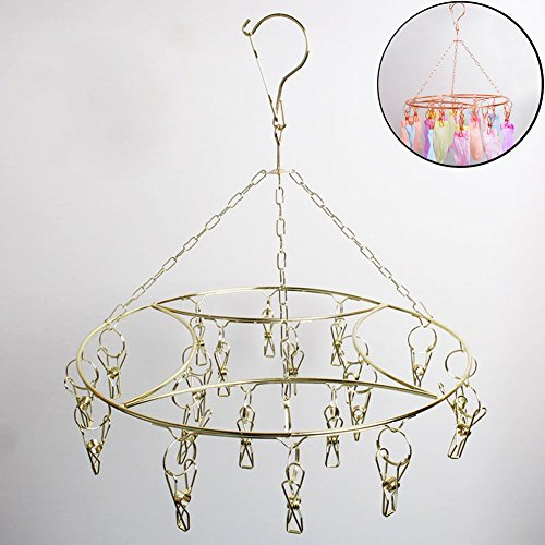 A.B Crew Round Laundry Clothesline Hanging Rack for Drying Clothing With 20 Stainless Steel Clothespins 5 Free quilt Clip(Nobility Gold)