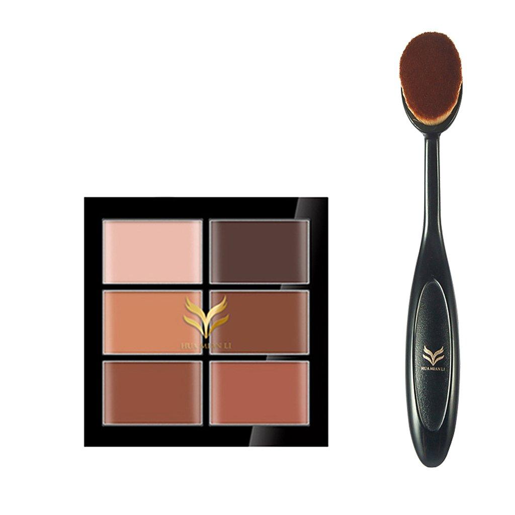 sharplace 6 colores paleta Corrector anti-cernes y Contour de crema camuflaje + Cepillo Oval de maquillaje: Amazon.es: Belleza