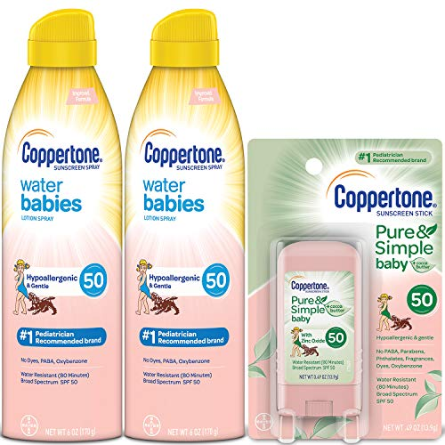 Coppertone WaterBabies SPF 50 Sunscreen Lotion Spray + Pure & Simple Baby Mineral SPF 50 Sunscreen Stick Multipack (Spray Lotion 6oz 2 Pack + Stick ()