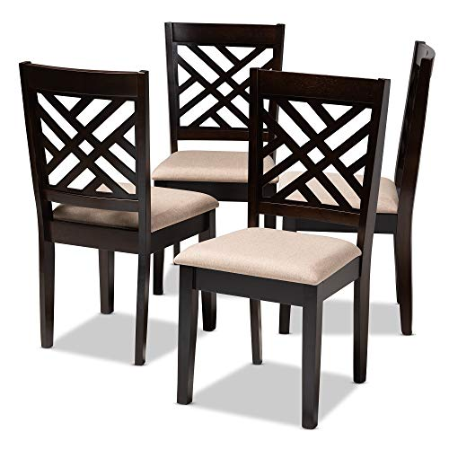 Baxton Studio Set of 4 153-9401-AMZ Dining Chairs, One Size, Sand Brown/Espresso