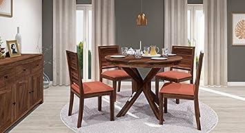 Urban Ladder Liana Oribi 4 Seater Round Dining Table Set Finish Teak Colour Burnt Orange Amazon In Home Kitchen