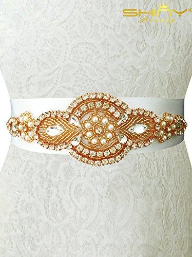 shidianyi rhinestone trim gold bridal sash pearl bridal sash bridal shower ra014 shinybeauty