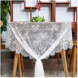 """QueenDream White Lace Tablecloth Kitchen Tablecloths for Rectangle Tables Size 60"""" X 120"""" for Party Banquet Dining Wedding Decorations"""
