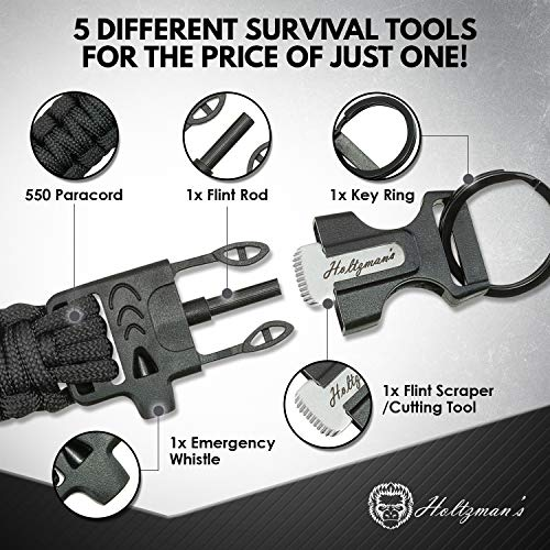 Ultimate 5-in-1 Paracord Keychain with Carabiner for Camping, Fishing, Hunting & Outdoor Emergencies | Multipurpose Survival Tool with Paracord, Emergency Whistle, Flint Rod, Cutting Tool & Key Ring by Holtzman's Gorilla Survival (Image #1)