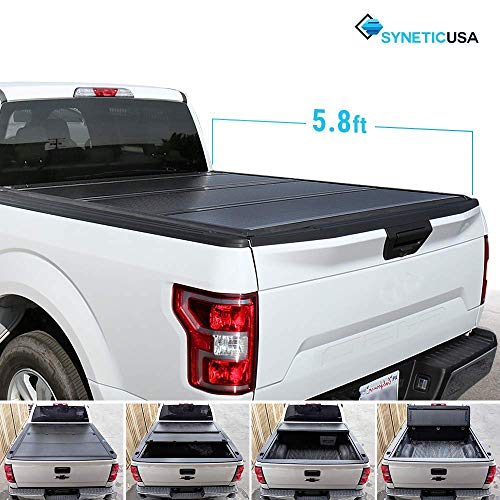 Syneticusa Aluminum Hard Folding Tonneau Cover Truck Cargo Tri-Fold Bed Cover for 2014-2018 Silverado/Sierra 5.8ft Short Bed