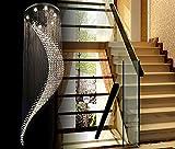 Cheap 8 Lights Fancy/Modern Contemporary Chandelier Rain Drop Helix Fixture Lighting with Crystal Balls for High Foyer Hallway/Living Room … (Diameter 20 Height 80 (inch) (6 lights)