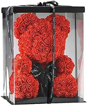 SUPERMOLON Oso Rosas 40cm con Caja Regalo Original - Rose Bear 40cm Oso de Rosas Artificiales - Regalo Día de la Madre, Enamorados, Aniversario, Amor - Entrega en 24h (Rojo)