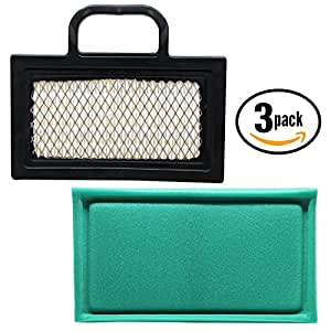 3-Pack Replacement Briggs & Stratton 40H777-0242-E2 Engine Air Filter & Pre-Cleaner - Compatible Briggs & Stratton 499486S Filter & 273638S Pre-Filter