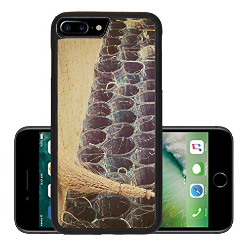 Luxlady Premium Apple iPhone 7 Plus Aluminum Backplate Bumper Snap Case IMAGE ID: 34782908 close up of a wicked broom by a group of fishnets in vintage tone (Wicker Wrapped Box)