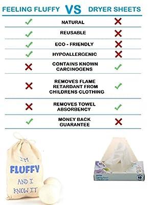 Wool Dryer Balls 8 Pack-XL 100% Organic, Natural, Non-Toxic Handmade Felt Laundry Balls by Feeling Fluffy-Reusable Anti Static Fabric Softener-Eco Friendly Hypoallergenic New Zealand Wool Dryerballs
