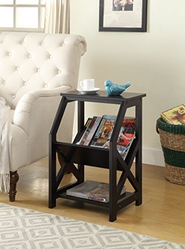 [Black Finish Wooden X-Design Chair Side End Table Magazine Holder with 3-tier Shelf] (Magazine Display Finish)
