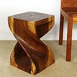 Twist Stool 12x12x18 inch H Sust Monkey Pod Wood w Eco Friendly Livos Walnut Oil