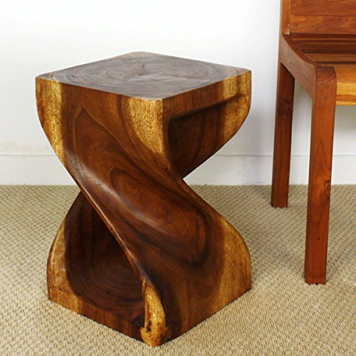 Twist Stool 12x12x18 inch H Sust Monkey Pod Wood w Eco Friendly Livos Walnut Oil