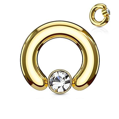 (Inspiration Dezigns 6G 12mm Gold Large Gauge Captive 6mm Bead Ring Clear Gem)