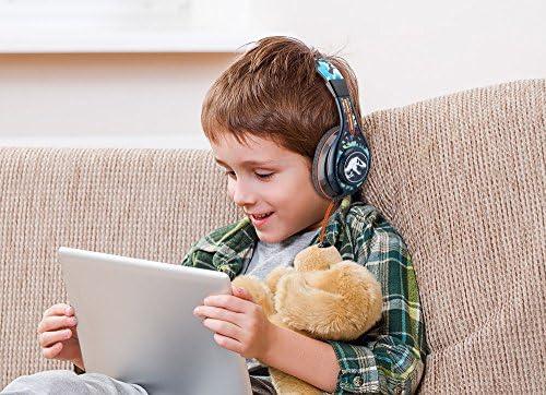 Jurassic World 2 Kids Headphones, Adjustable Headband, Stereo Sound, 3.5Mm Jack, Wired Headphones for Kids, Tangle-Free, Volume Control, Childrens Headphones Over Ear for School Home, Travel 51v4cvg3SOL