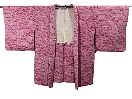 火薬水っぽい健康的リサイクル羽織 総絞り 流水模様 正絹 裄67cm 身丈81cm