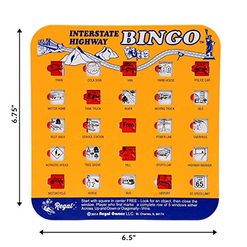 Regal Games Original Assorted Auto and Interstate Travel Bingo Set, Bingo Cards Great for Family Vacations, Car Rides, and Road Trips, Multi Color, 4 Pack