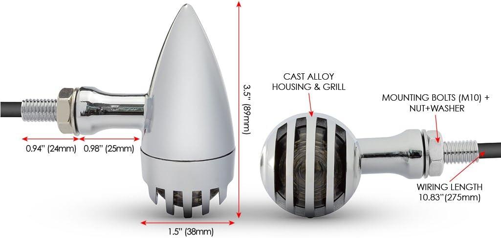 Haute Qualit/é Moto Alliage LED Clignotants en Chrome pour R/étro Personnalis/é Projet V/élo