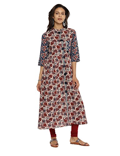 - Aaboli 100% Cotton Designer A-Line Kurta for Women Mandarin Neckline 3/4th Sleeve Long Dress Printed Tunic Casual Kurti for Women