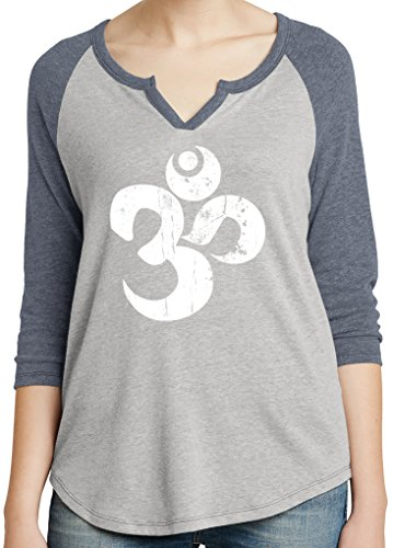 Yoga Clothing For You Ladies White Distressed OM V-Neck Tee, 2XL Silver/Vintage Navy