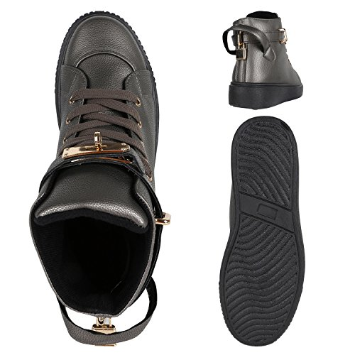 27def5b68d5653 ... Stiefelparadies Damen Sneaker High Schuhe Leder-Optik Sneakers Zipper  Ketten Schnürschuhe Flats Schnallen Flandell Grau ...